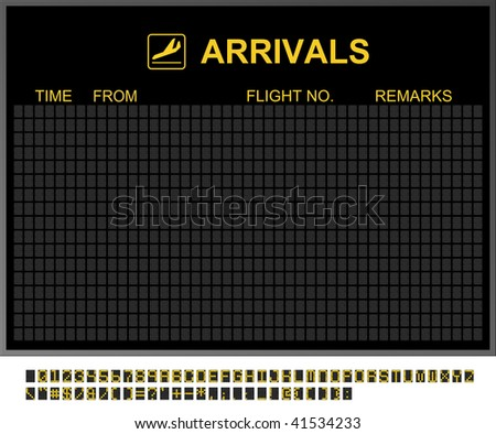 Empty arrivals board and characters to fill in - stock photo