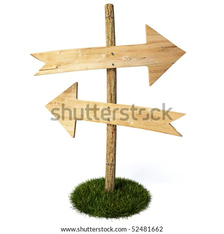 empty arrow sign made out of wood on a patch of grass. with clipping path.