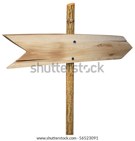empty arrow sign made out of wood on a patch of grass. with clipping path. - stock photo