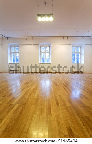 Empty art gallery with blank walls - stock photo