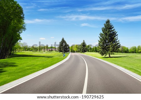 Empty asphalt road and green pine tree on roadside. Summer landscape with blue sky - stock photo