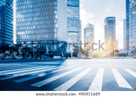 empty asphalt road with cityscape and skyline in city of China.
