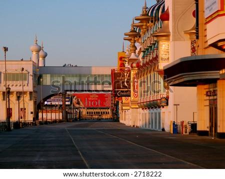 Empty Atlantic City Boardwalk - stock photo