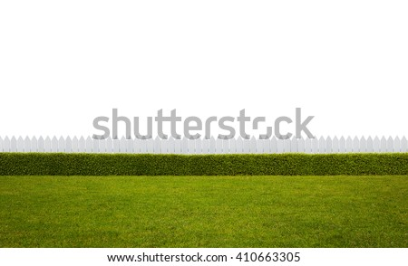 Empty backyard isolated on white background with copy space - stock photo