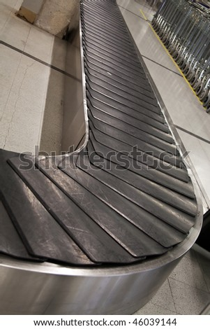 Empty baggage claim area at airport - stock photo