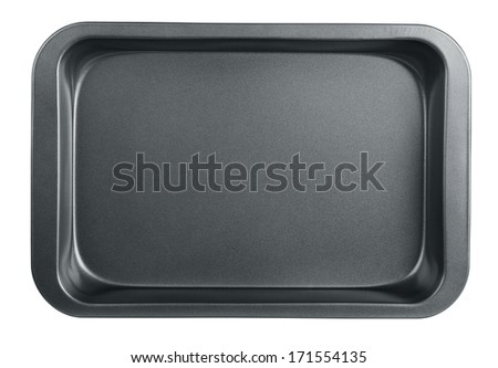 Empty baking tray isolated on white - stock photo