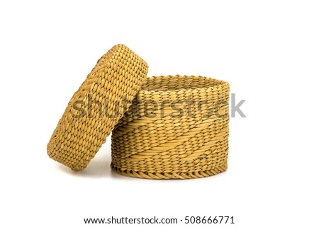 Empty bamboo basket handmade isolated on white background