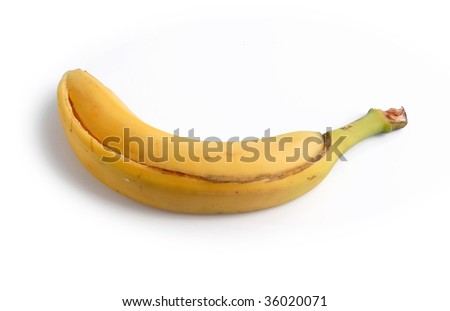 Empty banana peel isolated on white background