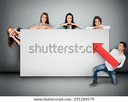 Empty banner with five people - stock photo
