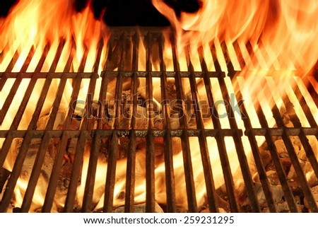 Empty Barbecue Clean Hot Flaming  Grill Close-up Background Isolated - stock photo