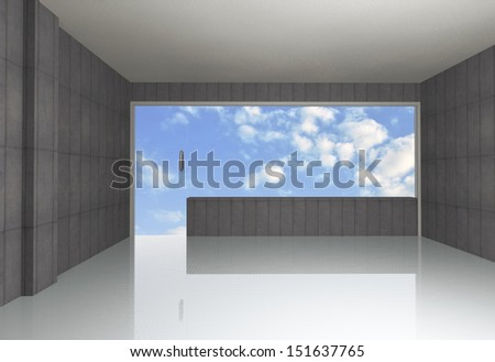 Empty bare concrete room , blue sky background - stock photo