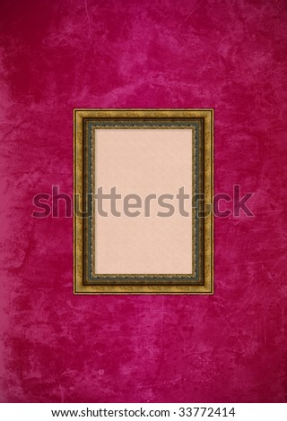 Empty baroque picture frame with copyspace on a grunge pink or purple stucco wall - stock photo