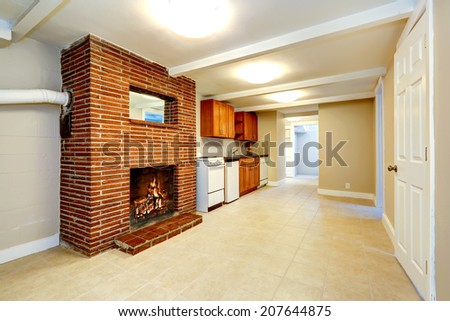 Empty Cartoon Kitchen And Living Room And Basement