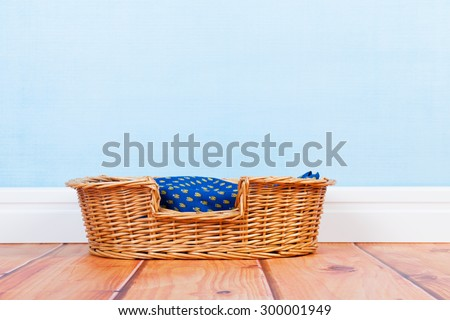 Empty basket at the floor for dog or cat  - stock photo