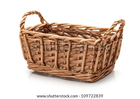 empty basket on white background - stock photo