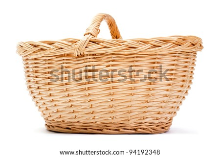 Empty basket on white background with drop shadow - stock photo