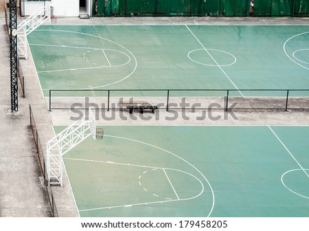 Empty basketball field in the town of Thailand. - stock photo