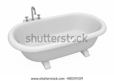 Empty bathtub 3d model, over white, isolated - stock photo