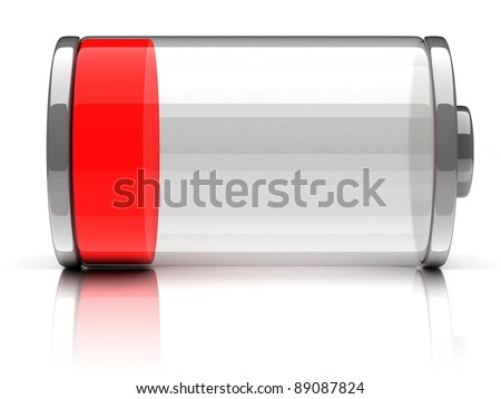empty battery 3d icon - stock photo