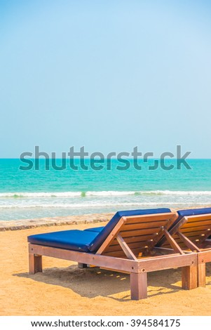 Empty beach chair on the beautiful beach