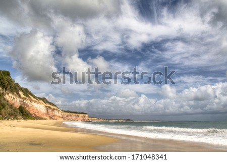 Empty beach close to Pipa, Brazil  - stock photo