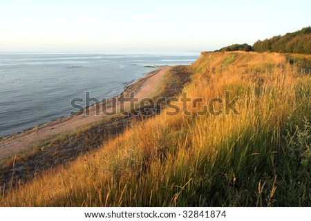 empty beach in the early morning - stock photo