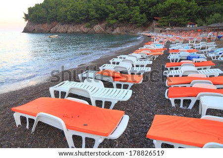 Empty beach in the morning on the Adriatic sea shore - stock photo