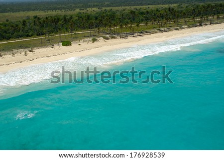 Empty beach seen from above. The dominican republic. - stock photo