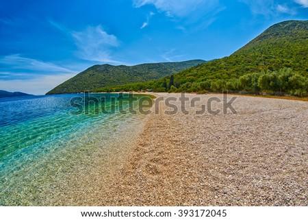 Empty Beach Shore in Antisamos Bay in Kefalonia, Greece - stock photo