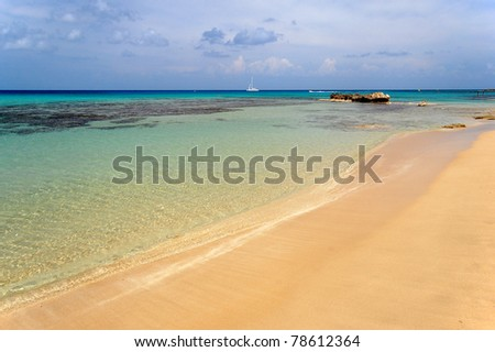 Empty beautiful Kermia beach of Cyprus island - stock photo