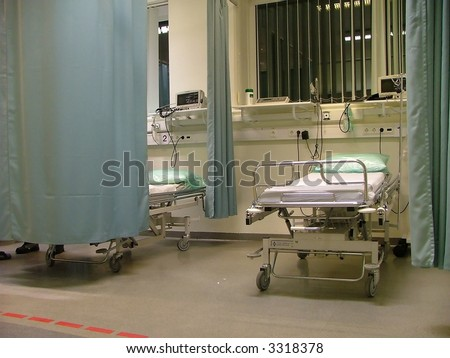 empty bed at the hospital's emergency room - stock photo