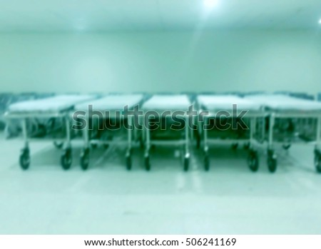 Empty bed in a hospital blur background