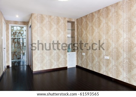 Empty bedroom with lamp and cabinet after renovation - stock photo