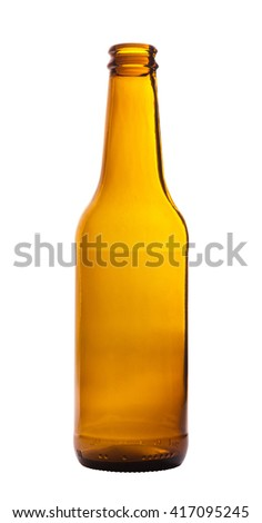 Empty beer bottle isolated on white - stock photo