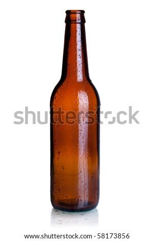 Empty beer bottle. Isolated on white background - stock photo