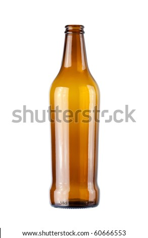 empty beer bottle on a white background - stock photo
