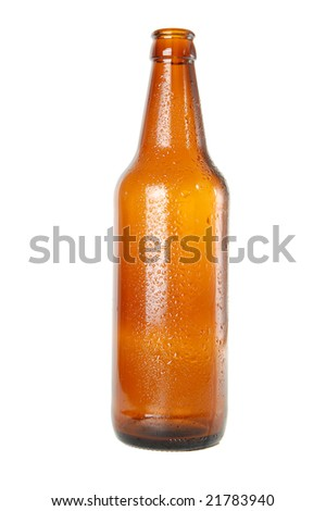 empty beer bottle on white