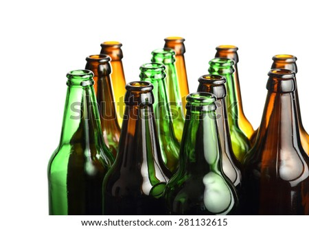 Empty beer bottles isolated on white background