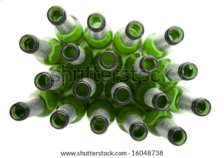 Empty Beer Bottles Isolated on White - Concept of Alcohol Consumption or Recycling - stock photo