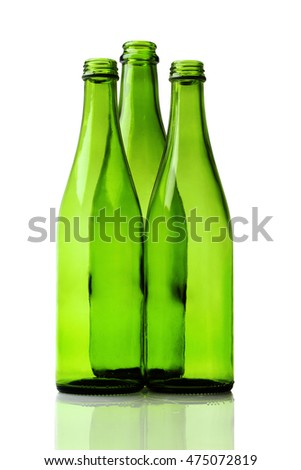 Empty Beer Bottles on White Background
