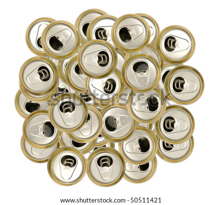 empty beer cans for recycling - stock photo