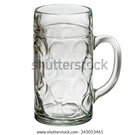 Empty beer glass isolated on white background. Path - stock photo