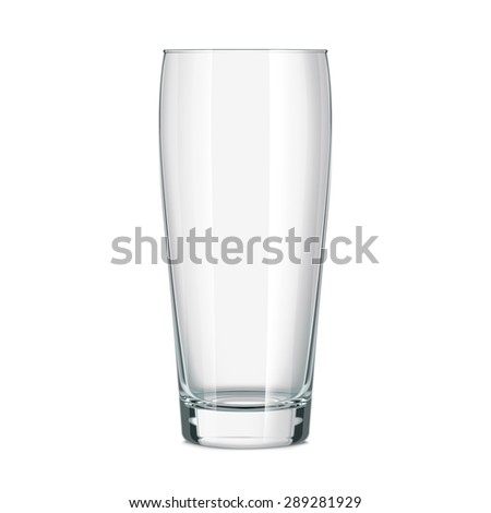 Empty beer glass. Isolated on white background. Vector path included. - stock photo