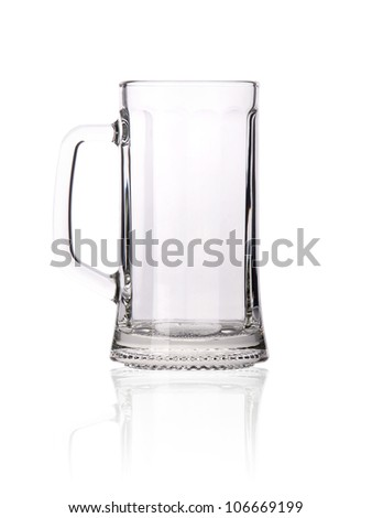 Empty beer mug isolated on white background.