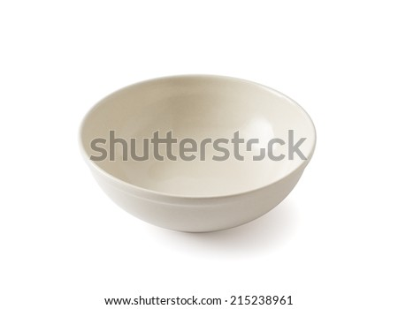 Empty Beige Ceramic Bowl - stock photo