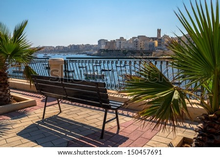 Empty bench at St Pauls Bay with palm trees around. - stock photo