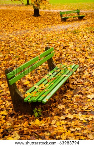 Empty bench in park with many orange autumn maple leaves around and on it. - stock photo