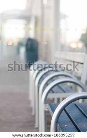 Empty benches - stock photo