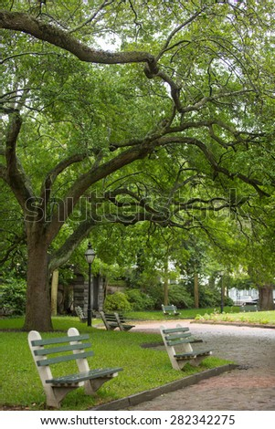 Empty benches at a park in downtown Charleston, SC  - stock photo