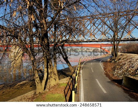 empty bicycle road along the Sava river in Belgrade, Serbia - stock photo